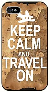iPhone 5 / 5s Keep calm and travel on, plane - black plastic case / Keep calm, funny, quotes, vintage map
