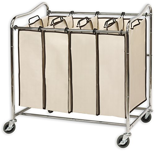 Simplehouseware 4-Bag Heavy Duty Rolling Laundry Sorter Cart, Chrome (Laundry Sorter Bin)