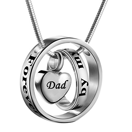 Cremation Jewelry No Longer by My Side, Forever in My Heart Carved Locket Cremation Urn Memorial Necklace Keepsake Urn Pendant for Dad - Keepsake Locket