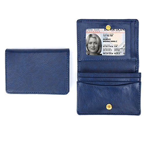 XeYOU Leather Case Minimalist Money Clip Front Pocket Wallet Super Thin Fashion Card Holder With ID Card Window (Royal Blue)
