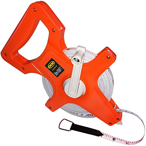 OCM Open Reel Fiberglass Tape Measure Inch Metric Scale, Impact Resistant ABS -100 Feet, 30 Meter ()