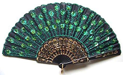 Womens Beautiful Silk Hand Fan (Green -