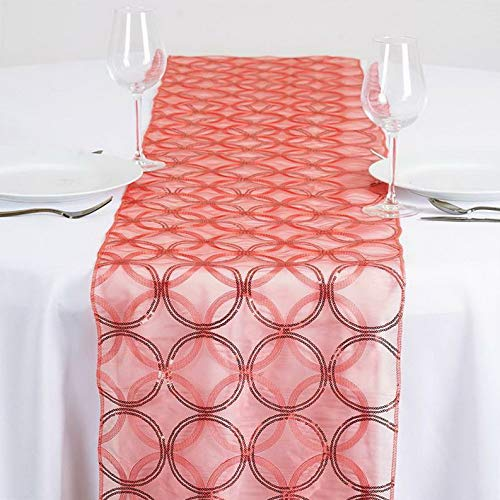 Mikash 14x108 Circle Sequin Table Runner Wedding Party Reception Dinner Decorations | Model WDDNGDCRTN - 14239 |