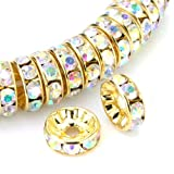 Beadnova 100 Pcs Gold Plated Crystal Rondelle Spacer Beads 6mm (#101 Crystal AB Aurore Boreale)
