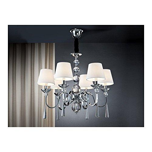 Schuller Spain 520783I4L Traditional Chrome Hanging Ceiling Light Pendant shade pendant light 6 Light Dining Room, Living Room LED | ideas4lighting by Schuller