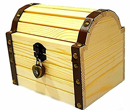 Lil' Genius Academy Wooden Box Secret Treasure Stash Chest With A Working Lock And A Pair Of Keys (Wood Treasure Chest With Lock compare prices)