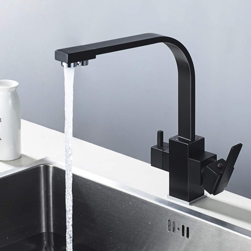 360/º Giratorio Grifer/ía de Fregadero para Cocina Grifo Cocina Negro para Osmosis 3 V/ías Grifo para Osmosis Inversa