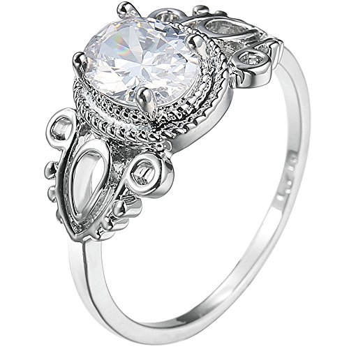 XAHH Jewelry Women 925 Sterling Silver Plated Oval Cubic Zirconia CZ Solitaire Diamond Bridal Engagement Wedding Ring Size 9