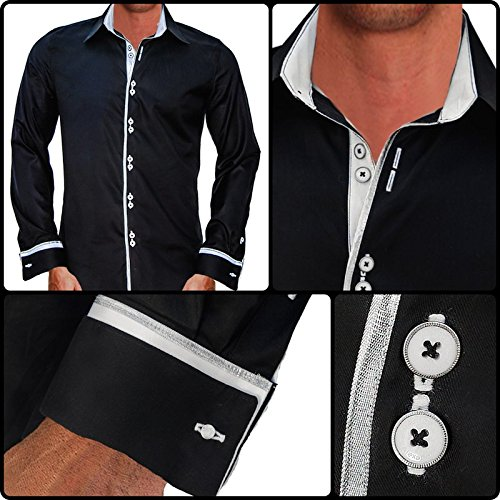 Anton Alexander Men's French Cuff Designer Dress Shirt Made In USA-M Fitted-Black/White