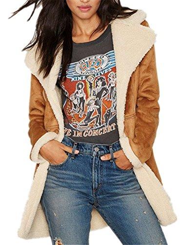 Allbebe Womens Winter Faux Long Suede Lamb Wool Coat Shearling Jacket (US Szie 4(Label Size M), Brown) (Suede Winter Coats For Women)
