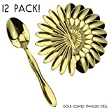 #10: Gold Teaspoons (12-Pack): Stainless Steel 6-Inch Sugar Spoons w/Gold Color