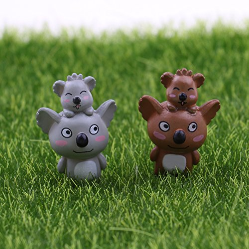 XIDAJIE 2 Pcs Lovely Miniature Koala Dollhouse Bonsai Crafts,Fairy Garden Glass Vase Mother-Child Koala Decor