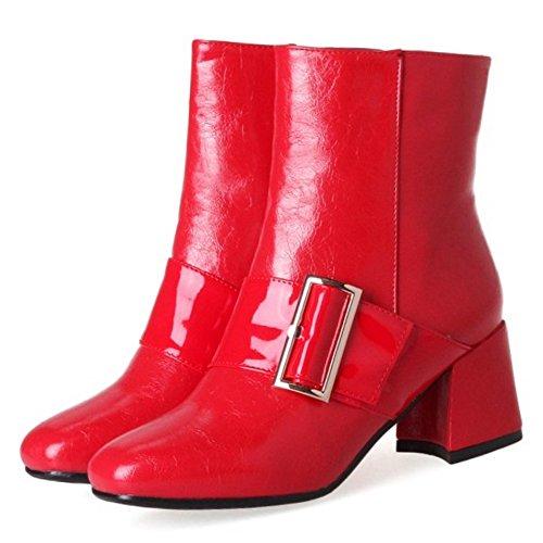 Stivaletti Fashion Block Rosso Laterale Donna 45 Zip Coolcept Con Medio Tacco Fibbia OSqntnxwg5