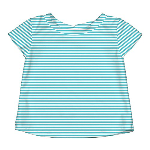 (i play. Baby Girls Cap Sleeve Rashguard, Light Aqua Pinstripe,)