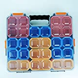 Lonjew 955 Compartment Storage Box for Hardware, Screws Nuts and Bolts. Colorful Removable Bins. Adjustable compartments organizer box, hardware carrying case.