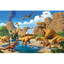 Poster Childrens Room adventure Dinosaur – wall picture decoration Dino World Comic style jungle adventure Dinosaur Waterfall | Wallposter Photoposter wall mural wall decor by GREAT ART (140 x 100 cm)
