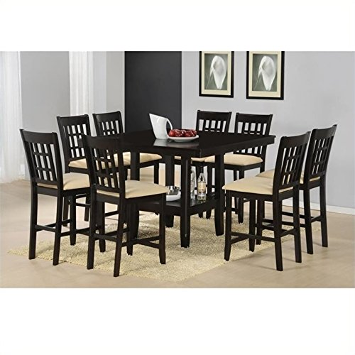 Bowery Hill 9 Piece Counter Height Dining Set in Cappuccino