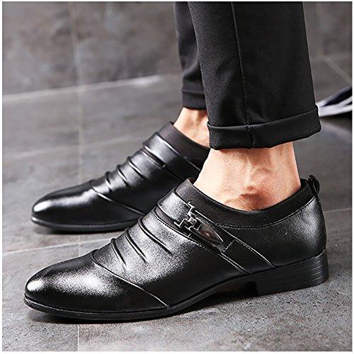DEARWEN Mens British Pointed Toe Oxfords Formal Wedding Shoes Black hMlFuH