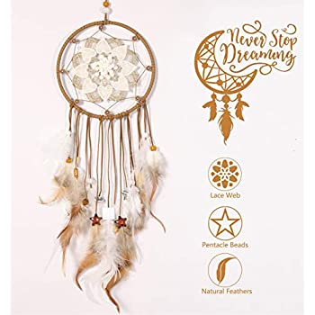 Sonwolf Dream Catchers Brown Handmade Feather Dream Catcher for Bedroom Wall Hanging Home Decor Wedding Party Blessing Gift