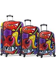 Dejuno 3-Piece Lightweight Hardside Spinner Upright Luggage Set - Jazz