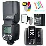 Godox V860II-F TTL GN60 2.4G High-Speed Sync 1/8000s Li-ion Battery Camera Flash Speedlite+Godox X1T-F Wireless Trigger Transmitter for Fujifilm Camera+15x17cm Softbox & Filter +USB LED Free Gift