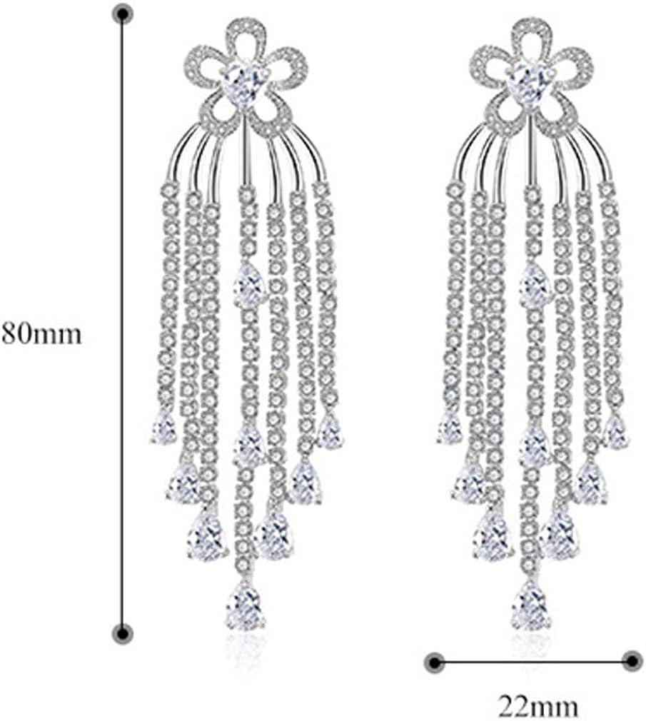 YAZILIND longues boucles doreilles pompon simple pendentif zircone exag/ér/ée goutte pendante boucles doreilles femmes bijoux de mariage