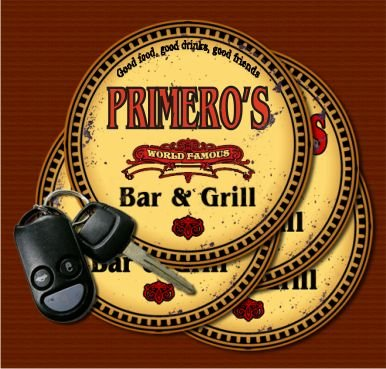 (PRIMERO'S World Famous Bar & Grill Coasters - Set of 4)