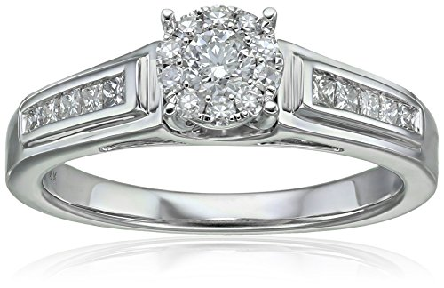 Composite Diamond in 14k White Engagement Ring (3/8cttw, H I Color, I1 Clarity), Size 7