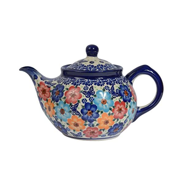 Traditional Polish Pottery, Handcrafted Ceramic 4-Cup Teapot with Lid (850ml), Boleslawiec Style Pattern, H.102.Meadow