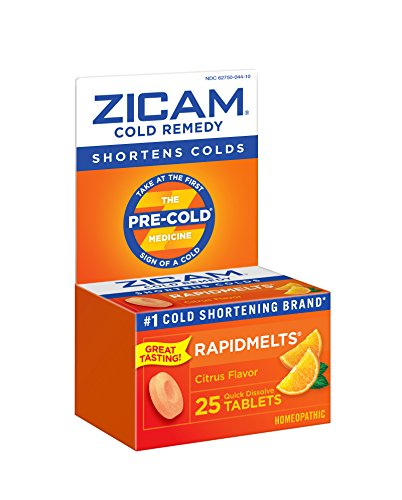 Zicam Cold Remedy Citrus RapidMelts, 25 Quick Dissolve Tablets (2 Pack), Clinically Proven to shorten colds When Taken at The First Sign, homeopathic
