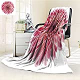 DOLLAR Blanket,studio shot of pink colored dahlia flower isolated on white background large de Traveling, Hiking, Camping, Full Queen, TV, Cabin, Couch, Bed Throw(60''x 50'')