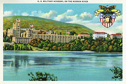 West Point, New York - Hudson River View of US Military Academy - Vintage Halftone (12x18 Art Print, Wall Decor Travel Poster)