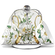 Panbado Bone China Cup Saucer Spoon Set Art 6.8 Ounce Porcelain Gold Rimmed Tea Coffee Cup 7-Piece with Silver Metal Holder, Camellia, White and Green(Service for 2 Person)