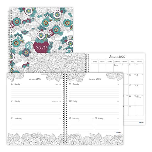 (Blueline 2020 DoodlePlan Coloring Weekly/Monthly Planner, Botanica Designs, 11 x 8.5 inches (C2911.01-20))