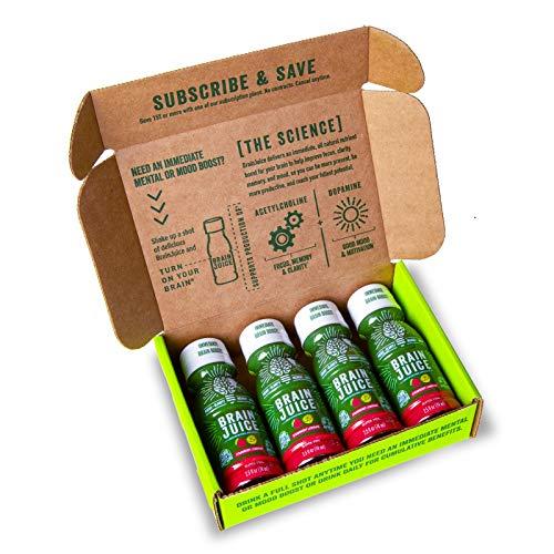 BrainJuice Brain Booster Shot, Strawberry Lemonade | Liquid Drink Supplement for Improved Energy, Memory, Focus, Clarity & Mood, Gluten-Free, Non-GMO | Starter Trial Pack, 2.5 fl oz, 4Count