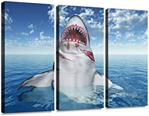 YKing1 Great White Shark Leaping Out of The Water Wall Art Painting Pictures Print On Canvas Stretched & Framed Artworks Modern Hanging Posters Home Decor 3PANEL