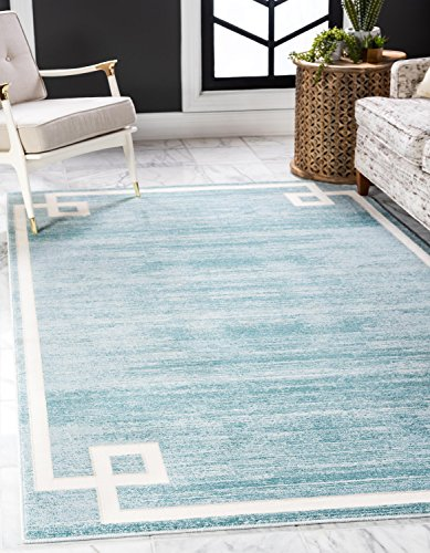 Unique Loom Uptown Collection by Jill Zarin Collection Greek Key Textured Modern Turquoise Area Rug (5' x 8')
