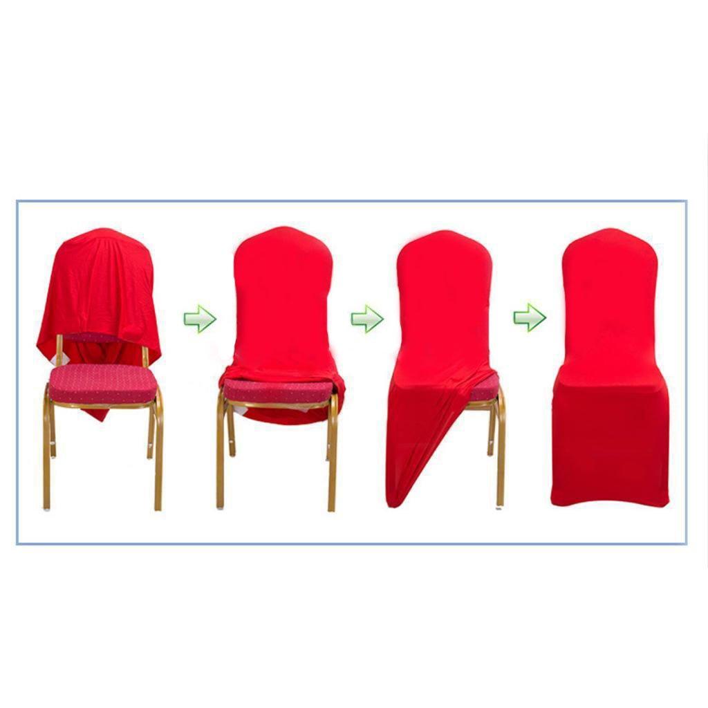 GFCC Set of 50pcs Bright Red Color Spandex Chair Covers,Wedding,Party,Banquet,Christmas Chair Seat Covers