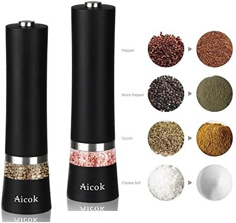 Aicok Salt and Pepper Grinder, Electric Pepper Mill, Stainless Steel Salt Mill with Adjustable Coarseness, Black, Pack 2