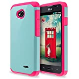 LG OPTIMUS L70 L41C Exceed 2 Realm Pulse Ultimate 2 Case, Impact Resistant Hybrid Dual Layer Armor Defender Protective Case Cover for LG OPTIMUS L70 L41C Exceed 2 Realm Pulse Ultimate 2 Case - Teal
