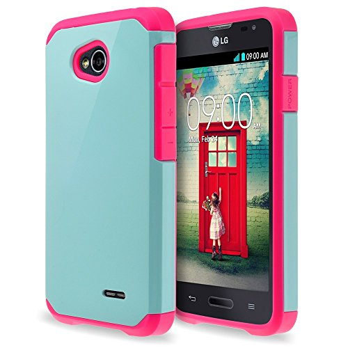 LG Optimus L70 L41C Exceed 2 Realm Pulse Ultimate 2 Case - Hybrid Dual Layer Defender Protective Case Cover for LG Optimus L70 Exceed 2 Realm Pulse Ultimate 2 Case - Teal/Hot Pink (Lg Realm Hot Pink Phone Case)