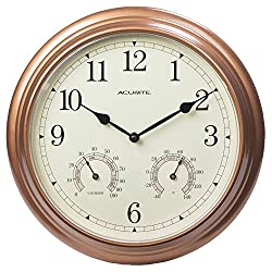 AcuRite 00919 13-Inch Copper Indoor/Outdoor Wall Clock with Thermometer and Hygrometer