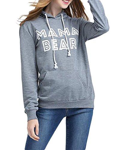 [Women's Casual MaMa Bear Letter Print Sweater Hoodies Sweatshirt Coat, Grey, Large] (Maternity Sweater Coat)