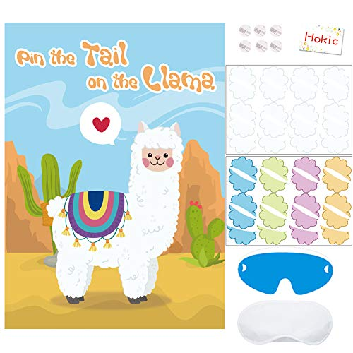 - Pin The Tail On The Llama Game for Kids Birthday Party Decorations Llama Theme Party Supplies Large Llama Poster Set 40 Tail Stickers
