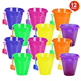 ArtCreativity Large Plastic Beach Pail and Shovel Set (Pack of 12) | 9'' Big Assorted Neon Buckets and Shovels | Summer Beach Toys | Practical Gift, Party Favor and Prize