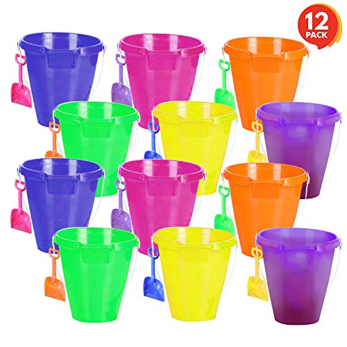 ArtCreativity Large Plastic Beach Pail and Shovel Set (Pack of 12) | 9