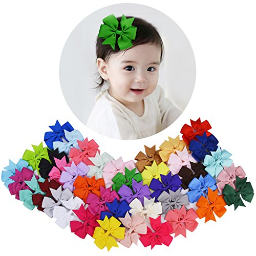 Hair Bows, COOFIT 40Pack Hair Bows for Girl Alligator Clips Grosgrain Ribbon Boutique Hair Accessories for Baby Girls Kids Teens Children