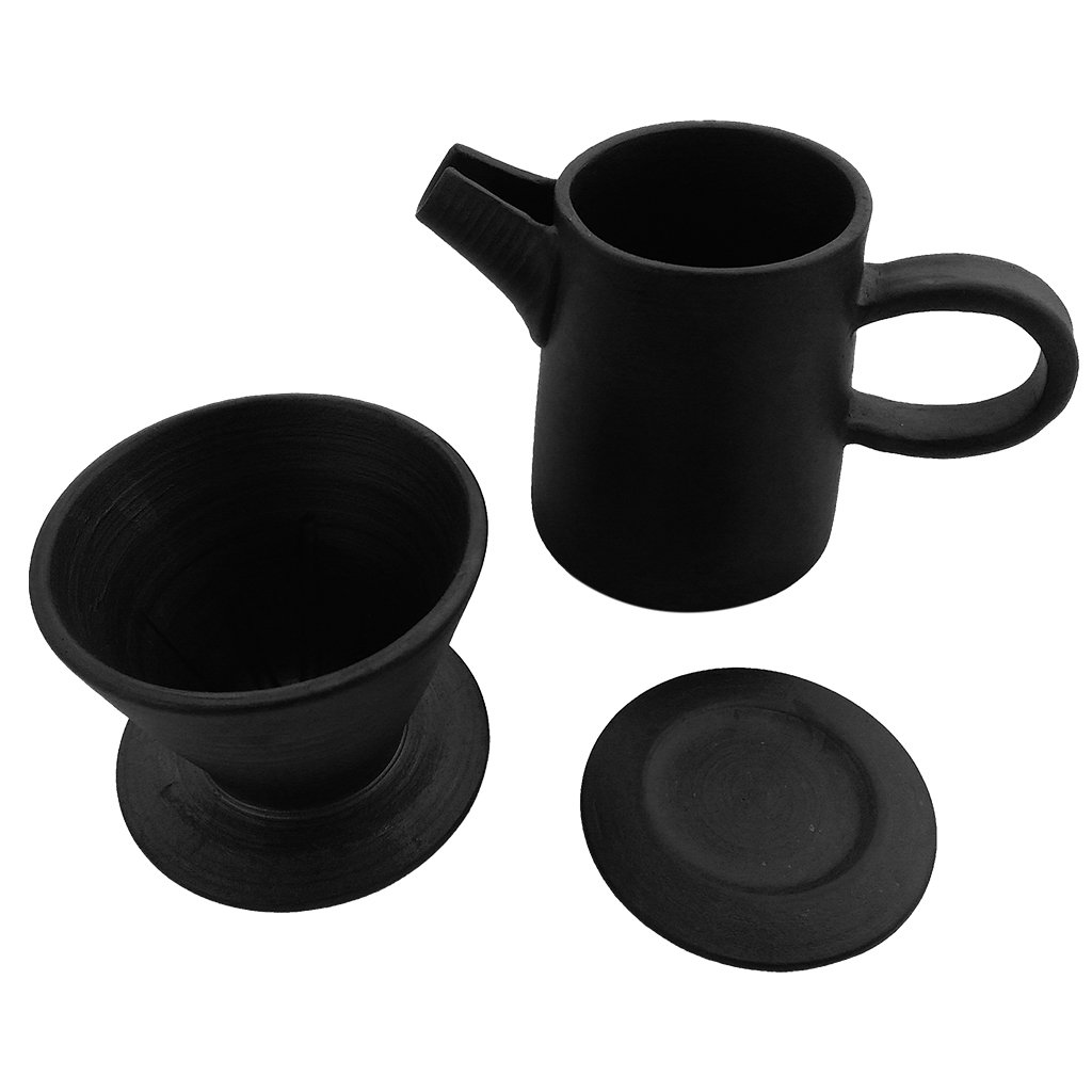 ZANTAN Handmade Ceramic Coffee Dripper and Pot Set, Far Infrared Radiation and Negative Ions, Reduce Bitter Taste, Pour Over Coffee Maker, 11.6 Ounce