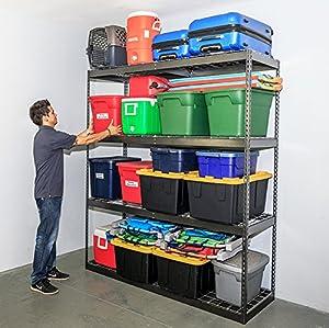 saferacks garage storage rack hammertone steel shelving unit 2u0027d x 6u0027w x 7u0027t