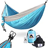 Image of Outdoors Portable Lightweight Single & Double Camping Hammocks with Stretch Resistant Parachute Nylon Ropes and Steel Carabiners for Backpacking, Travel, Beach, Hiking, Yard Contains Straps (120 inches in length) & Carabiners for Easy Setup SkyBlue